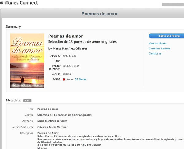 Tu eBook en iTunes Connect