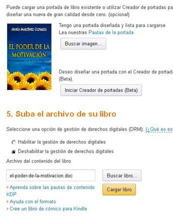 Publicar ebook en Amazon subir la portada